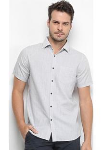 Camisa Manga Curta Forum Linho Listrada Slim Fit Masculina - Masculino-Colorido