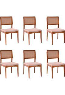 Conjunto Com 6 Cadeiras Kindon I Tela Castanho E Bege