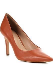 Scarpin Couro Shoestock Classic Salto Alto - Feminino-Caramelo