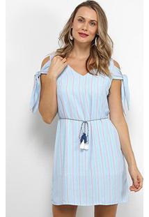 Vestido Lily Fashion Open Shoulder Listrado Amarração - Feminino-Azul