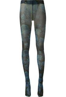 Richard Quinn Meia-Calça Translúcida Com Estampa Floral - Azul