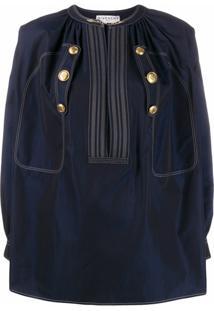 Givenchy Blusa Com Botões Gravados - Azul