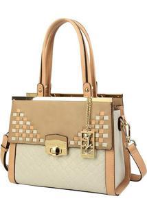 Bolsa Retangular Com Bag Charm - Bege & Rosa Claro -Fellipe Krein