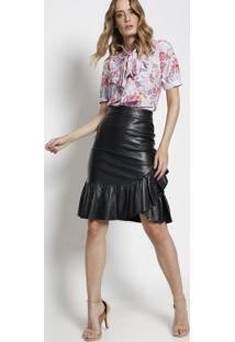 Camisa Floral Com Babados - Lilã¡S & Rosa - Alfredaalfreda