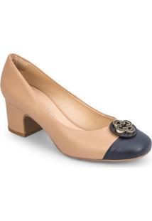 Sapato Tradicional Quadrado - Bege & Azul Marinho - Capodarte