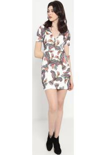 Vestido Com Recortes- Off White & Vermelho- Colccicolcci