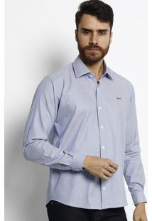 Camisa Slim Fit Geomã©Trica Com Botãµes & Bordado - Brancaogochi