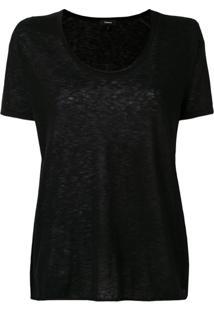 Theory Camiseta Decote Arredondado De Cashmere - Preto