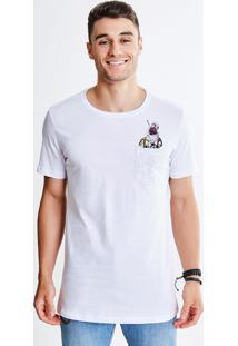 Camiseta Com Bolso E Estampa