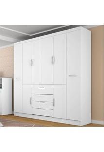 Guarda-Roupa Casal 8 Portas Realce Branco - Lc Móveis