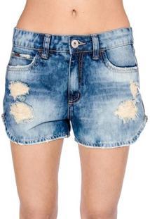 128e0c7fc ... Shorts Jeans Destroyed Colcci - Feminino-Azul