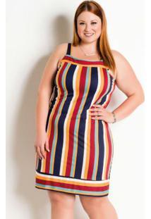 Vestido Plus Size Listrado Com Alças Largas