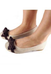 Sapatilha Likka Calçados Bico Redondo Napa Laço Marrom