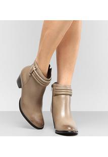 Bota Couro Shoestock Cano Curto - Feminino-Bege