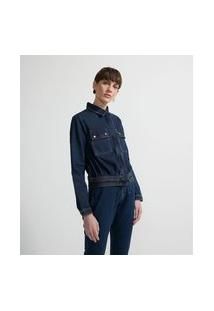 Jaqueta Leve Jeans Com Bolsos Aplicados E Botões De Pressão