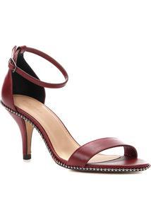 Sandália Couro Shoestock Salto Fino Glam Feminina - Feminino-Vinho