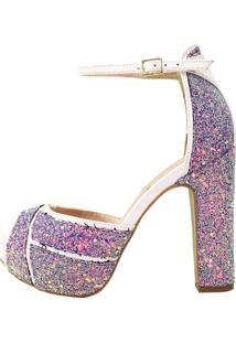 Sandália Salto Week Shoes Grosso 3D Glitter Roxo