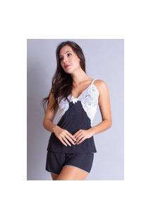 Pijama Estampado Curto Adulto Feminino Baby Doll Renda 075 Preto