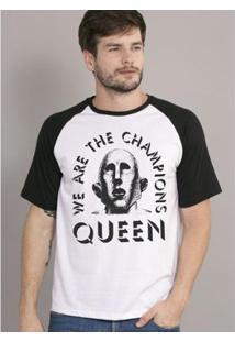 Camiseta Raglan Masculina Queen We Are The Champions - Masculino-Branco