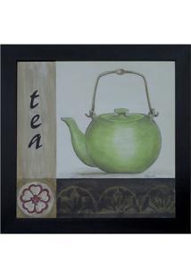 "Quadro Decorativo ""Tea""- Branco & Verde- 35X35X1Cm"