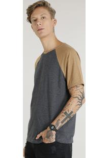 Camiseta Masculina Raglan Básica Manga Curta Decote Careca Cinza Mescla Escuro