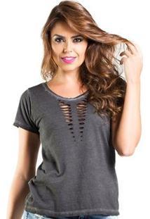Blusa Camiseta Lado Basic Efeito Rasgadofeminina - Feminino-Chumbo
