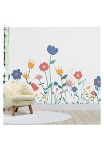 Papel Parede Menina Jardim Maxi Flores Gráo De Gente Multicolorido