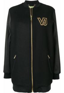 Versace Jeans Couture Casaco Com Logo Contrastante E Zíper - Preto