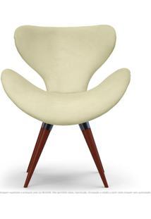 Poltrona Decorativa Cadeira Egg Areia Com Base Fixa De Madeira