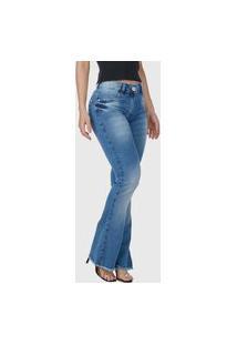 Calça Flare Hno Jeans Petit Barra Desfiada Azul