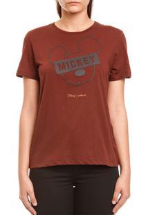 Camiseta Colcci Mickey Mouse Marrom - Kanui