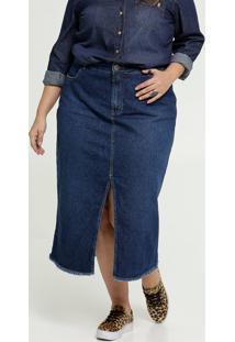 Saia Feminina Jeans Midi Fenda Plus Size Razon