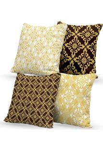 Kit 4 Capas De Almofadas Decorativas Own Arabescos Dourado 45X45 - Somente Capa