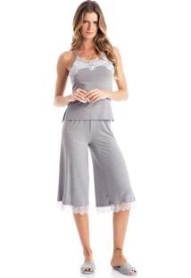 Pijama Prata Pantacourt Mescla/P