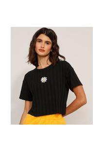 Camiseta Cropped Canelada Com Bordado De Margarida Manga Curta Decote Redondo Preta