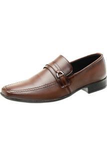 Sapato Social San Lorenzo Solado Antiderrapante Elástico Macio Marrom
