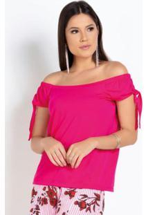 Blusa Pink Ciganinha Com Amarração