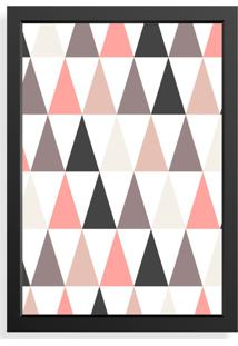 Quadro Love Decor Decorativo Geométrico Rosa/Cinza