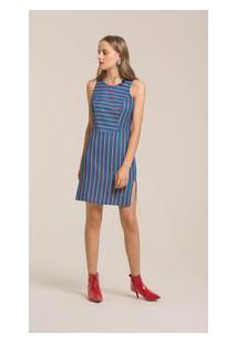 Vestido Curto Decote Redondo Abertura Lateral Azul G