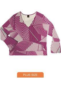 Blusa Feminina Estampa Geométrica Rosa