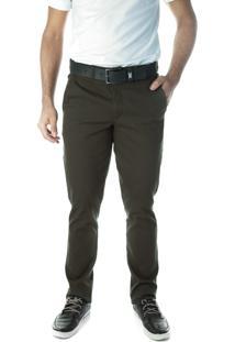 Calça 3044 Sarja Verde Militar Traymon Modelagem Slim