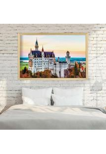Quadro Love Decor Com Moldura Castelo Europeu Madeira Clara Grande