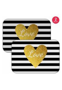 Jogo Americano Love Decor Love Branco/Preto/Amarelo