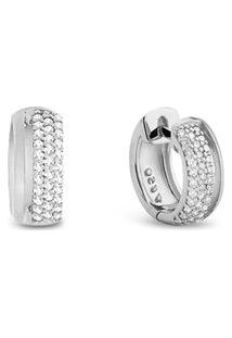 Argola Ouro Branco E Diamantes 10Mm
