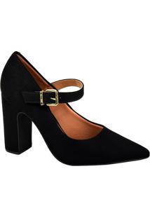 791929750 Oscar Calcados. Sapato Com Salto Feminino Eva Camurça Bico Fino Vizzano  Preto