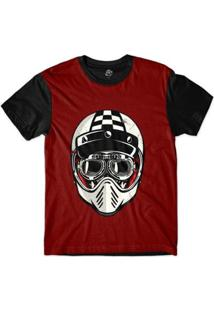 Camiseta Bsc Caveira De Capacete Corrida Quadriculado Masculina - Masculino-Vermelho