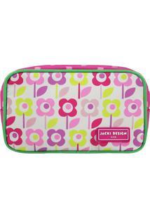 Nécessaire Flores- Pink & Verde- 11X19X5Cm- Jackjacki Design