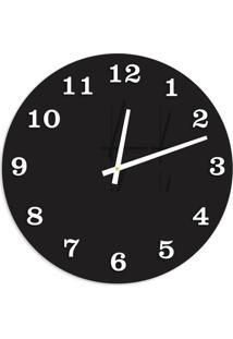 Relógio De Parede Premium Preto Ônix Com Números Em Relevo Branco 50Cm Grande