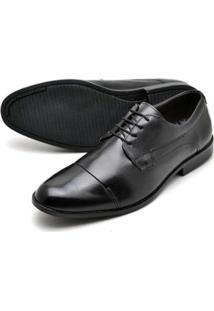 Sapato Social Couro Bico Arredondado Reta Oposta Masculino - Masculino-Preto