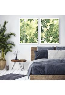 Quadro 65X90Cm Galhos Com Folhas Verdes Moldura Branca Sem Vidro